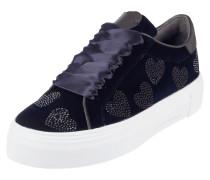 Plateau-Sneaker aus Leder mit Samtbeschichtung