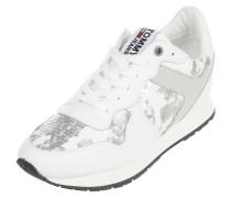 Sneaker Wedges aus Leder mit Pailletten