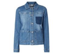 Stone Washed Jeansjacke mit Taschenschatten