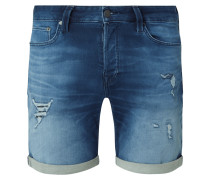 Regular Fit Jeansshorts mit Used-Effekten Modell 'Rick'