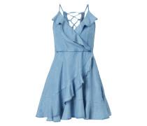 Kleid in Denimoptik mit Volantbesatz
