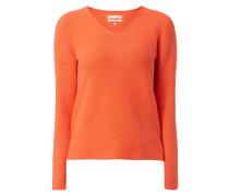 Pullover mit abgerundetem V-Ausschnitt