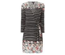 Kleid in Wickeloptik mit Streifenmuster