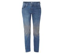 Cropped Slim Fit Jeans mit Nietenbesatz