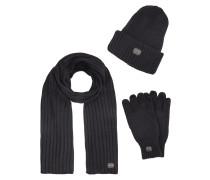 Strickmütze, Schal und Handschuhe im Set