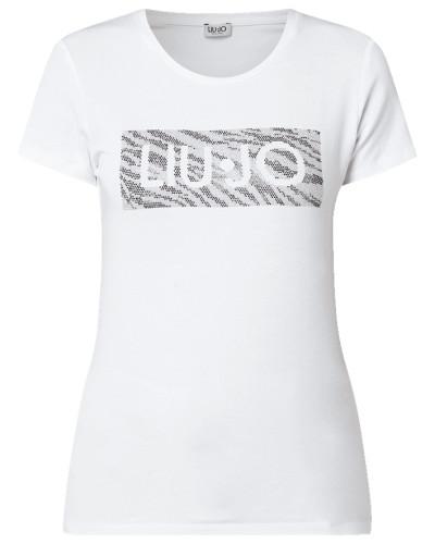 T-Shirt mit Logo aus Nieten