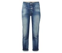 Stone Washed High Waist Jeans mit Ziernaht
