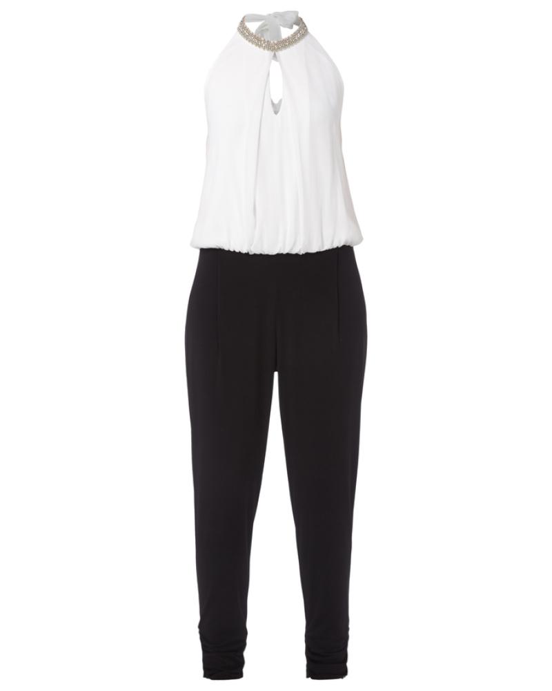 vera mont damen jumpsuit mit collierkragen zum binden reduziert. Black Bedroom Furniture Sets. Home Design Ideas