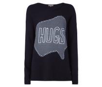 Oversize Pullover mit Stickereien und Message