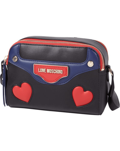moschino damen crossbody bag mit herzf rmigen eins tzen reduziert. Black Bedroom Furniture Sets. Home Design Ideas