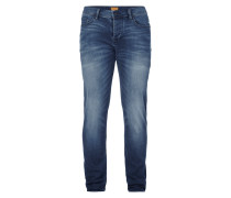 Stone Washed Tapered Fit Jeans mit Knopfleiste