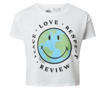 Cropped T-Shirt mit Smiley-Print
