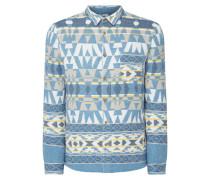 Modern Fit Flanellhemd mit Ethno-Muster