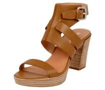 Sandaletten aus echtem Leder mit Blockabsatz
