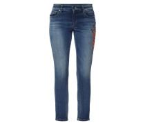 Slim Fit 5-Pocket-Jeans mit floralen Stickereien