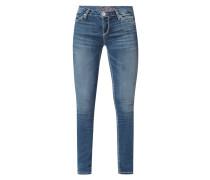 Stone Washed Skinny Fit Jeans mit Kontrastnähten