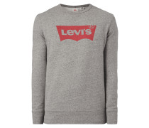 Sweatshirt mit Logo-Print - meliert