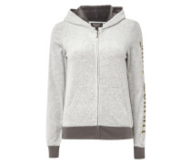 Sweatjacke aus Nicki mit Logoprints
