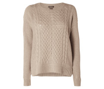 Pullover aus Woll-Kaschmir-Mix mit Zopfmuster