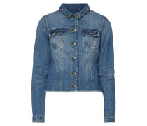Jeansjacke mit ausgefranstem Saum