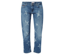 Cropped Straight Fit Jeans mit Sternenmuster