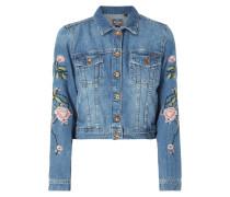 Jeansjacke mit floralen Stickereien