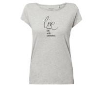 Shirt in Melange-Optik mit Print