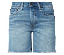 Straight Fit Jeansbermudas im Used Look