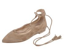 Ballerinas aus Veloursleder mit Schnürung