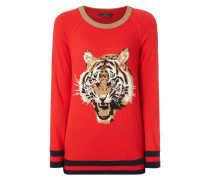 Pullover mit eingestricktem Tigerkopf