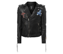 Lederjacke im Biker-Look mit Patches
