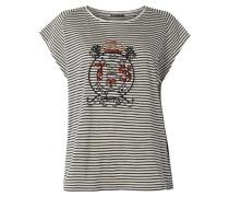 T-Shirt mit Logo-Stickerei und Ziersteinen