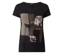 T-Shirt mit Print und Pailletten