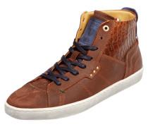 Sneaker aus Leder mit Krokoleder-Optik