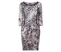 Kleid mit Leopardenmuster und gerippter Struktur