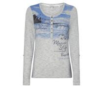 Serafino-Shirt mit Print und Stickereien