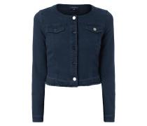 Cropped Jeansjacke mit ausgefranstem Saum