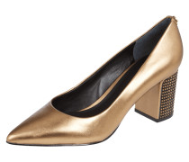 Pumps aus Leder in Metallicoptik