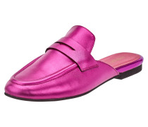 Slip-On Loafer aus Leder in Metallicoptik