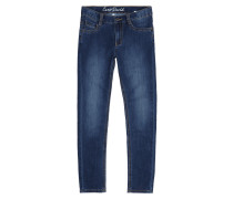 Stone Washed Slim Fit Jeans mit Kontrastnähten