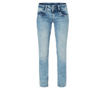 Bleached Mid Rise Straight Fit Jeans
