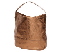 Leder Schultertasche in Metallic-Optik