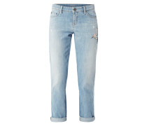 Stone Washed Leisure Fit 5-Pocket-Jeans