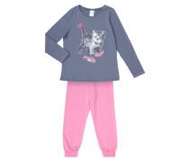 Pyjama mit Katzen-Print und Glitter-Effekt
