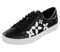 Sneaker aus Leder mit floralen Applikationen