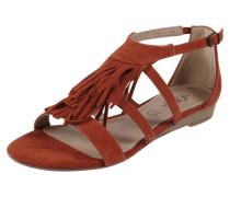 Sandale aus Veloursleder mit Fransenbesatz