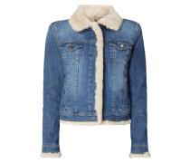 Stone Washed Jeansjacke mit Futter aus Webpelz