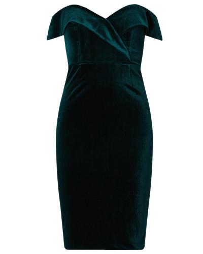 Off Shoulder Kleid aus Samt