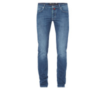 Stone Washed Slim Fit Jeans mit Tuch