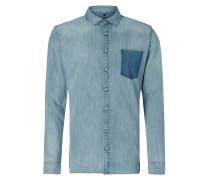 Slim Fit Jeanshemd mit Button-Down-Kragen